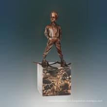 Kinderfigur Statue Skifahren Junge Bronze Skulptur TPE-708