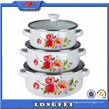 3PCS Glass Lid Cast Iron Enamel Pot