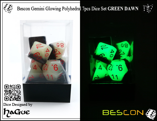 Bescon Gemini Glowing Polyhedral 7pcs Dice Set GREEN DAWN-5
