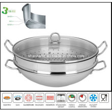 3ply Body Stainless Steel Wok with Steamer Cookware