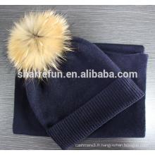 vente en gros 12gg plat tricot écharpe pur chapeau écharpe ensemble