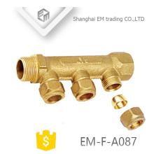 "EM-F-A087 MF 3/4 ""Messing männlich Druck Messing Rohrverschraubung Wasserverteiler Heizung"