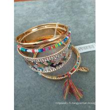 Multi rangs de bracelet avec Seedbead & Multi couleurs de Pierre & Tassel