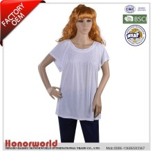 BSCI approved clothing factory 100% rayon blank t shirt women with decorative stitches front