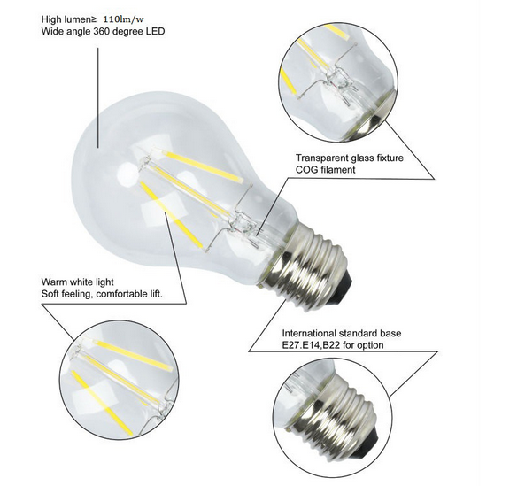 led filament technology light bulbs 2w