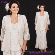 Tres piezas de encaje lleno de la madre de los vestidos de novia con cuello Scoop de tamaño más