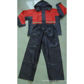 100% Polyester/PVC Coated Waterproof Outdoor Rainsuit / Rain Suit