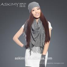 2015 Großhandel gestrickte Schal Beanie und Handschuh-Set