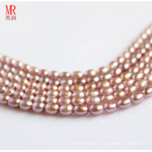 6-7mm Purple Rice Shape Freshwater Pearl Strand