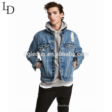 New arrival autumn light blue mens distressed denim bomber jacket