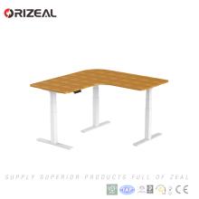 Nueva oficina en forma de L puesto de trabajo para sentarse y pararse mesa de altura ajustable