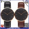 Yxl-007 2016 Мужская мода часы из натуральной кожи из нержавеющей стали ДГ модель черный циферблат Кварцевые часы