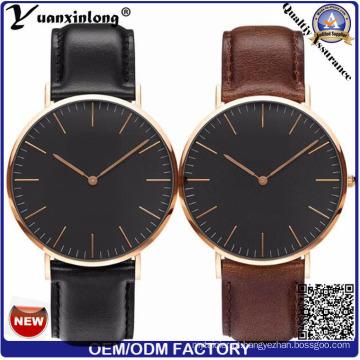 YXL-477 Dw estilo liga 3 ATM impermeável relógio Men′s Miyota movimento japonês couro genuíno caso banda pulso personalizados relógio de aço inoxidável