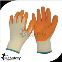 SRSAFETY 10 gauge grey polycotton liner coated blue latex on palm gloves, crinkle finished/blue latex work gloves