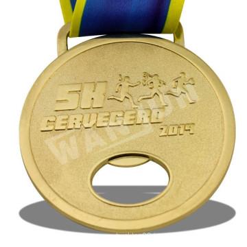 High Quality Bottle Opener Function Metal Gold 5K Medal