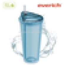 Tasse en plastique double paroi 16oz / 20oz avec couvercle en plastique et paille claire