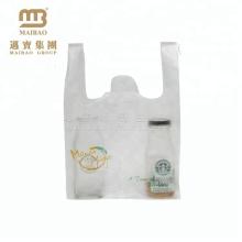 Gewohnheit druckte klares C Falten HDPE Supermarkt-Plastikt-shirt Taschen auf Rolle