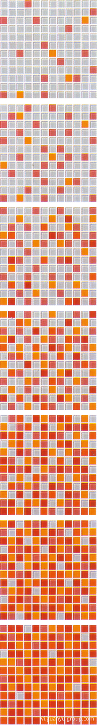 Orange Gradual Change Glass Mosaic