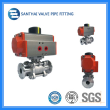 Stainless Steel Sanitary Pneumatic Ball Valves with Pneumatic Actuator