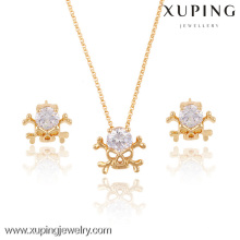 63630-Xuping Fashion Jewelry Skull Jewelry Set Gold Models Diamond Skull Wedding Set