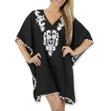 Rayon Embroidery Swimwear V Neck Cover up Tunic Kaftan (xy255)