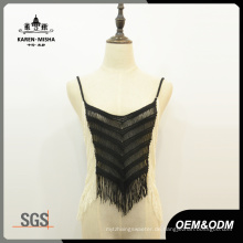 Frauen Fringe Kontrast Slim Fit Crop Strickwaren
