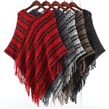 Женский свитер кардиган палантины зимние вязаные шали пончо (SP616)