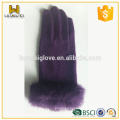 Premium Cheap Purple Unlined Wool Gloves with Rabbit Fur Cuff
