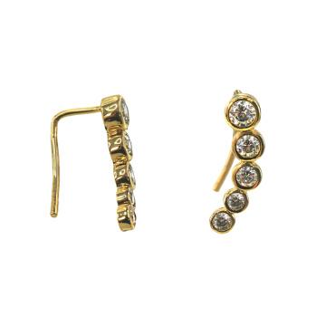 Boucles d'oreilles fantaisie en plaqué or avec zircon cubique