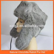 Chapeau en fourrure de lapin gris naturel de style russe
