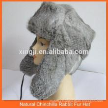 Russian style natural grey rabbit fur hat
