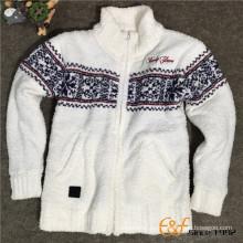 Перо пряжи подростки макет шеи молнии с длинными рукавами кардиган свитер