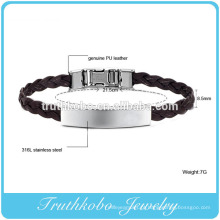 Pulseira de couro tecelagem de seda de alta qualidade genuína pulseira de couro PU nó DIY ID pulseira De Couro