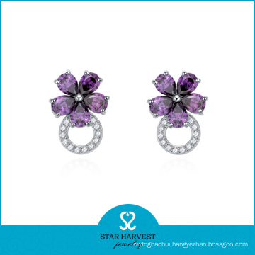 Factory-Direct Sterling Silver Earring with AAA CZ (E-0036)