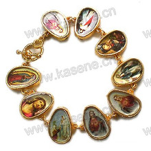 Plastic Elastic Flag Gold Rosary Bracelet with Saint Picture