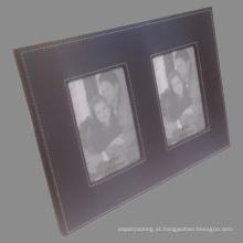 4X6 moldura de couro com duas vistas