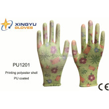 Printing Polyester Shell PU Coated Safety Work Glove (PU1201)