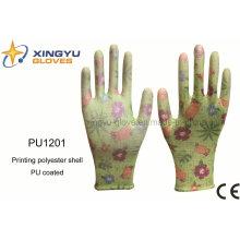 Печать полиэфирной оболочки ПУ покрытием рабочих перчаток безопасности (PU1201)