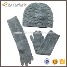 More win custom cashmere material warm and soft cable beanie hat and cable gloves sets