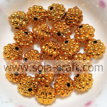 Brilliant Acrylic Electric Plating Beads For Bracelet Orange Color