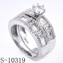 Fashion Micro Pave 925 Silver Jewelry Twin Ring with Zirconia (S-10319)
