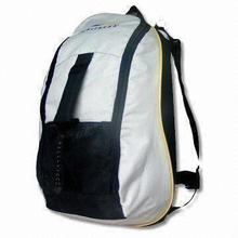 Backpack with Mesh Bag on Front Bottom, Made of 600D Oxford Cloth Coated PVC