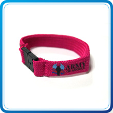 Custom Silk Screen Printed Polyester Wristband with Plastic Buckle for Party