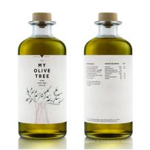 Bouteille en verre d'huile d'olive de 500 ml avec bouchon en bois