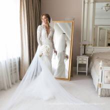 Suave y fluido 2 en 1 vestido de novia
