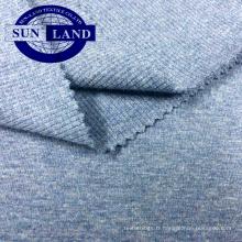 vêtements décontractés de mode vêtements 95/5 fils teints 2x2 coton côte de spandex tissu