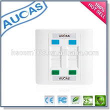 Cat5e cat6 network rj45 4 port faceplate / Chine usine prix uk us faceplate / systimax unique double port plaque murale