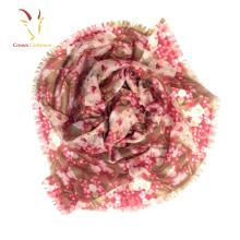 Blumendruck-kundenspezifische Strickmuster-billige Silk Schals