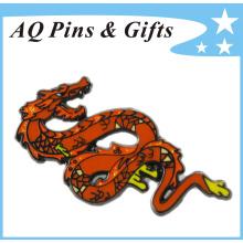 Insigne de dragon en métal de 15 ans avec cloison souple et brillant (badge-145)