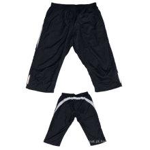 Yj-3024 Mens Poliéster Alinhado Exercício Joggers Knee Shorts Meias Calças